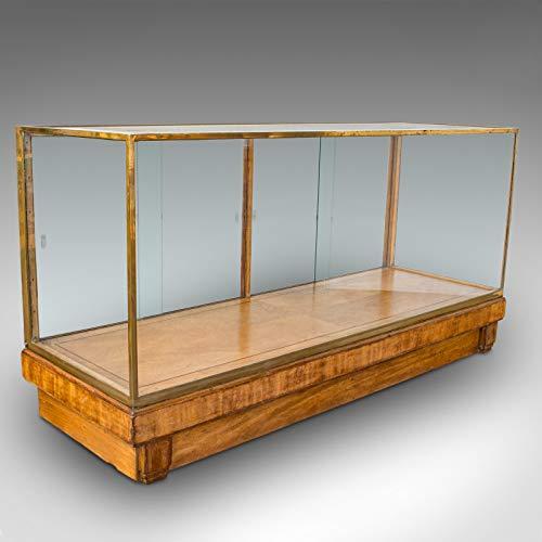 Armario de vidrio antiguo, inglés, bronce, venta al por menor, exhibición, victoriano