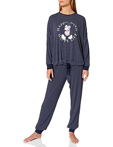 Women' Secret Pijama Largo Soft Estampado Mickey, Azul Oscuro, S para Mujer