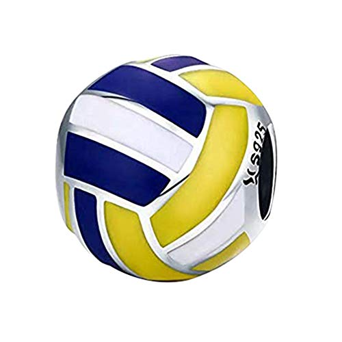 Fans of Volleyball Bead Charm 925 Sterling Silver Sport Bead Fit Original Bracelet (Volleyball Bead)