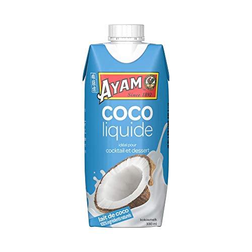 AYAM Lait de Coco Liquide | 100% Ingrédients Naturels | 99% de coco | Boosté en eau de coco | Haute Qualité | Lait Végétal | Sans Lactose | Sans Gluten | Pack pratique - 330ml