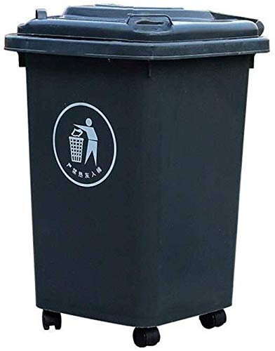 Outdoor Trash Can, Multifunktions Classified Trash Can Platz Wheeled Trash Can verdicken Kunststoff tragbare Trash Can (Color : Gray, Size : 30L)