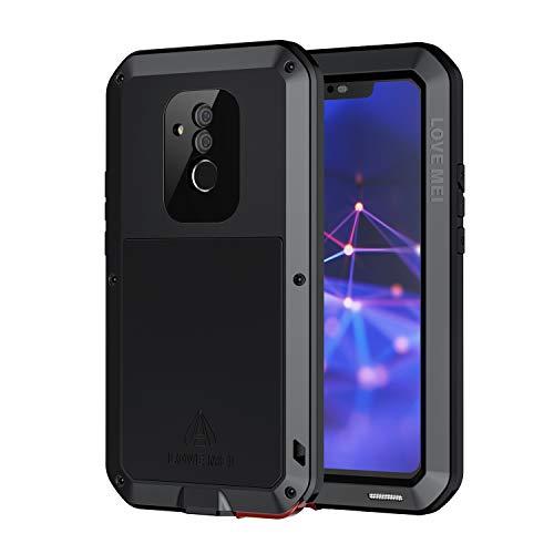 seacosmo Cover Mate 20 Lite, Fullbody Custodia Protettiva Doppio Strato Alluminio Case con Protezione Integrata dello Schermo per Huawei Mate 20 Lite, Nero