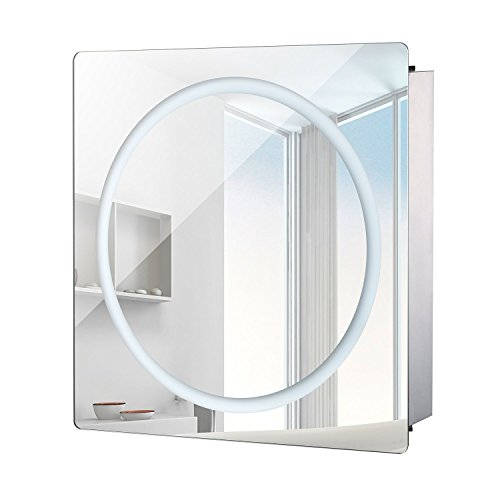 "HOMCOM Vertical 28"" LED Illuminated Bathroom Sliding Wall Mirror Medicine Cabinet - Ring LEDs"