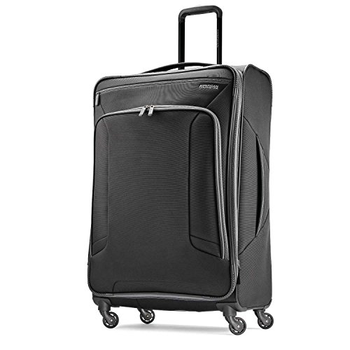 American Tourister 4 Kix Expandable Softside Luggage with Spinner Wheels, Black/Grey, Checked-Large 28-Inch