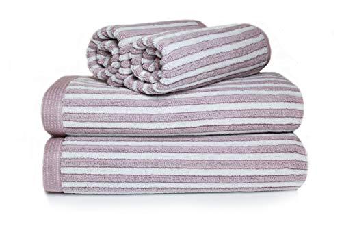 restmor Set de 4 Toallas 100% Algodón de 550g/m2 – Diseño Manhattan Rayado y Reversible – Blanco y Malva