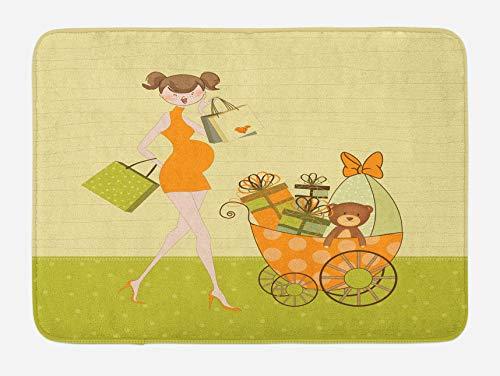 Alfombrilla de baño para baby shower, mujer embarazada comprando para su bebé con imagen de dibujos animados de oso de peluche y cochecito, alfombrilla de felpa para decoración de baño con respaldo an