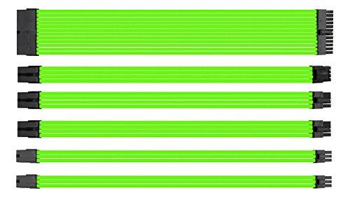 upHere Sleeved Cable - Kabelverlängerung für die Stromversorgung mit extrahüller 24 PIN 8PIN 6PIN 4 + 4 PIN - Grün,SC303