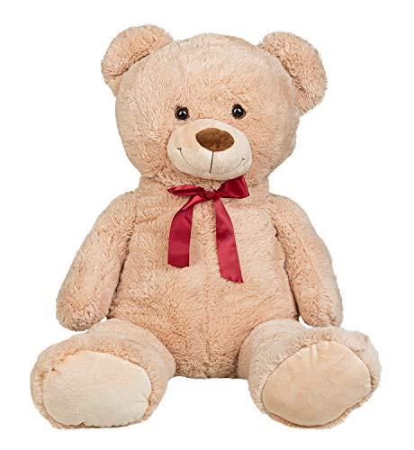 Idena 40135 - Plüschtier XXL Teddybär in beige, mit Schleife und kuscheligem Fell, für Kleinkinder ab 1 Jahr, ca. 100 cm