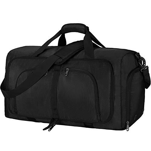 NEWHEY Bolsa de Viaje Plegable 40L 65L 80L Grande Bolsa de Deporte Impermeable Ligera Bolsa de Fin de Semana con Compartimento Zapatos para Hombre