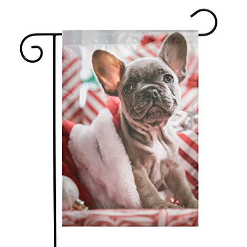 MINIOZE Cute Christmas Brindle French Bulldog Puppy in Santa Hat Themed Welcome Mailbox Small Jumbo for Outdoor Decorations Ornament Picks Garden House Home Yard Traditional Decorative Front 12'x18'