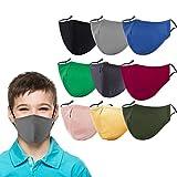 Kids Cloth Face Mask Reusable Washable Cute Children Face Masks Adjustable Masks for School Girls Boys Pack of 9