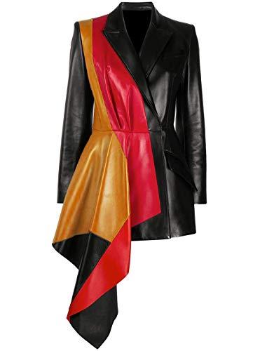 JUFAH Chaqueta de piel auténtica de media peplum para mujer, diseño multicolor, negro, rojo y marrón - negro - Medium