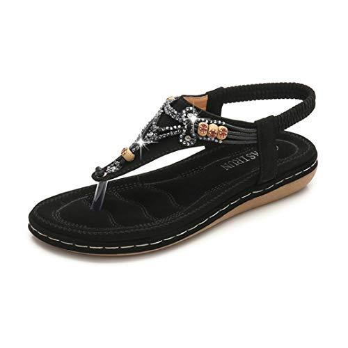Sandalias De Dedo del Pie para Las Mujeres Moda Abalorios Rhinestone Tangas Zapatos De Playa Casual Punta Abierta Plataforma De Punta Redonda Chanclas