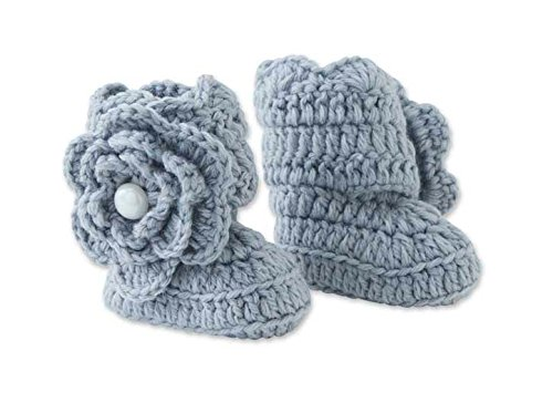 Baby Girls Gray Crocheted Knit Booties, 0-9 Months