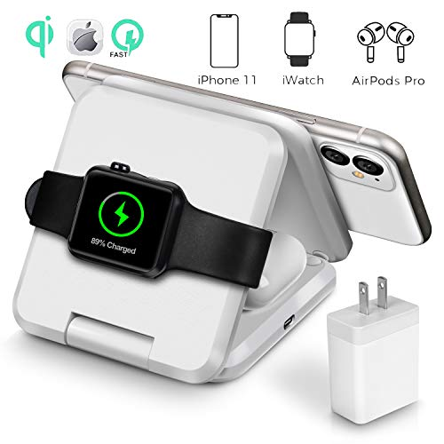 Qi Wireless Charger, 3 in 1 Portable Foldable Wireless Charging Station Dock Designed for Apple Watch, Wireless Airpods,...