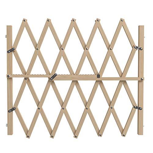 Hochwertiges Hunde-Treppenschutzgitter, PressFix Sicheres Absperr- und Türschutzgitter für Hunde, 84cm Hoch, Verstellbar von 65cm bis zu 104cm in der Breite, Natur-Holz