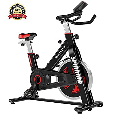 Yaumany Indoor Cycling Exercise Bike Cardio Spinning Bike with Adjustable Handlebars & Seat, 10KG Flywheel Resistance LCD Display Multi-functional Monitor for Home from Yaumany