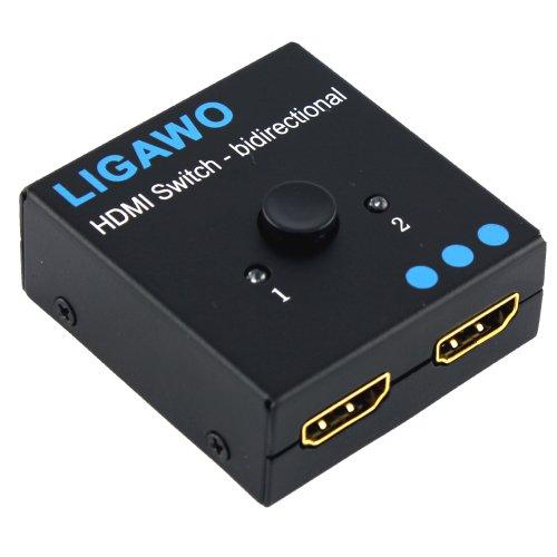 Preisvergleich Produktbild Ligawo ® HDMI Switch bidirektional - 1x2 / 2x1 - 3D 1080p FullHD HDCP - mechanisch + ohne Netzteil passiv + Metallgehäuse + vergoldete Anchlüsse