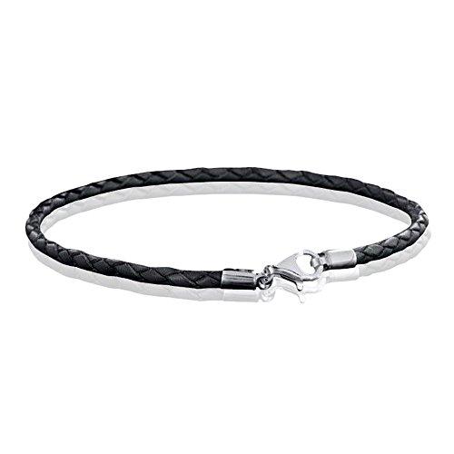 MATERIA 925 Silber Beads Armband Herren Damen - Leder Armband Karabiner grau 18-22cm #A59, Länge:21 cm