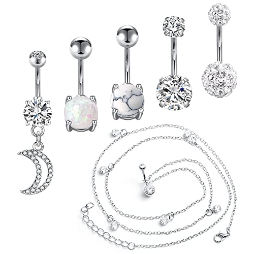 Briana Williams 14G Belly Button Rings Dangle with Waist Chain Surgical Stainless Steel Diamond CZ Belly Rings Cute Navel Rings Dangle Belly Button Piercing Jewelry for Women