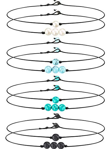 meekoo 8 Pieces Single Faux Pearl Choker Necklace 3 Bead Necklace Single Gemstone/Turquoise Choker and Turquoise Necklace on Leather Cord for Women Girl (Style A)