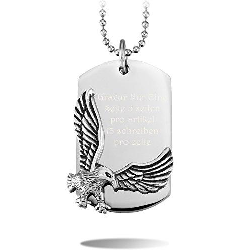 MeMeDIY Silber Ton Edelstahl Anhänger Halskette Dog Tag Adler Falke,mit 58cm Kette Gravur