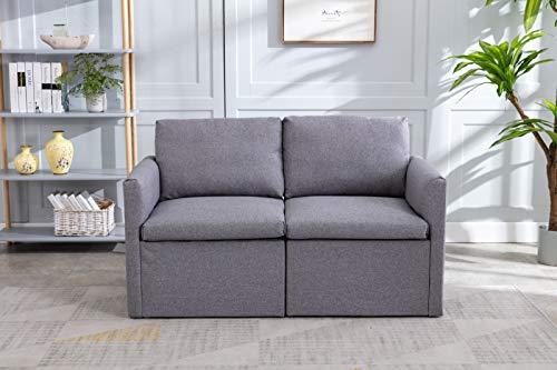 Jeerbly Sofa 2 Sitzer, Couch mit Bezug aus Leinenimitat, Beliebige Kombination von Sofa, Best Ecksofa,Polsterm?Bel für kleine Wohnungen, G?stezimmer, Jugendzimmer, mit Holzgestell