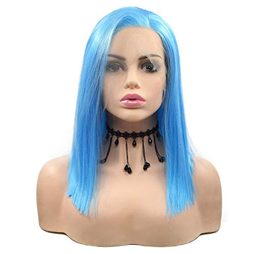 14 Inch Short Bob Wigs Best Light Blue Lace Front Wigs Side Part Soft Lace Cut Hair Straight Synthetic Wig Natural As Real Hair Colorful Blue Wig