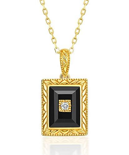 ZHANGQIAN 925 Sterling Silver Black agate pendant AAA Zirconium Diamond Square Pendant Gift for Women Daughter Girlfriend Wife Mom