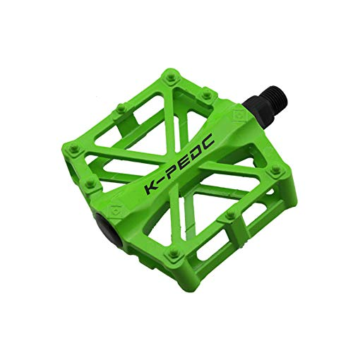 VOANZO Pedali Bici, Pedali Bici Bici Pedali Alluminio Resistenti Antiscivolo per Mountain Bike, Pedali Bici MTB BMX (Verde)