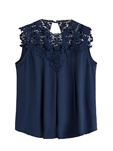Floerns Women's Lace Neckline Sleeveless Chiffon Blouse Top Navy Plus 2XL