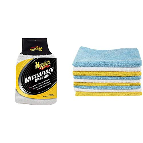 Meguiar's X3002EU Microfibre Wash Mitt Waschhandschuh & AmazonBasics Mikrofaser-Reinigungstücher, 24 Stück