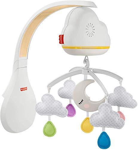 Fisher-Price Móvil y Proyector Nubes Relajantes, juguete de cuna proyector para el sueño y descanso de bebés (Mattel GRP99)