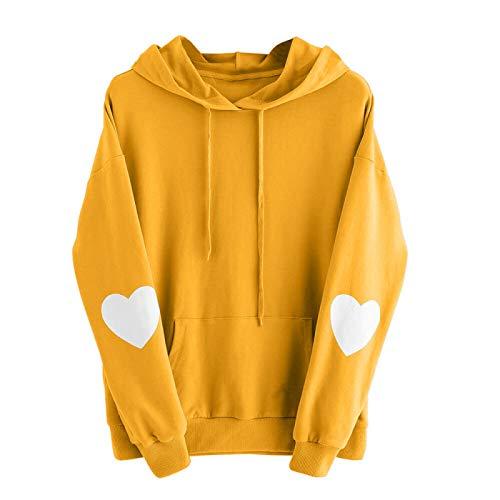 WYZTLNMA Autumn Womens Long Sleeve Heart Print Hoodies Long Sleeve Sweatshirt Hooded Pullover Tops Sweatshirt Female Streetshirt Yellow