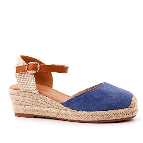 Angkorly - Scarpe Moda Sandali Espadrilla Cinturino alla Caviglia Piatto Boemia Donna Corda con Paglia Intrecciato Tacco Zeppa 5 CM - Blu 2 BL300 T 38