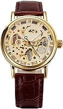SEWOR Gold Transparent Skeleton Watch Men Mechanical Hand Wind Wristwatch Male Fashion Leather Band Wristwatch