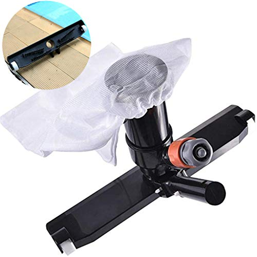 GKanMore Swimming Pool Vacuum Head with Bag Brush and EZ Clip Handle 14' Wide Vacuum Cleaner for Pool Spa Pond Jacuzzi Tub Cleaning Supplies and Accessories (Black - Not Pole)