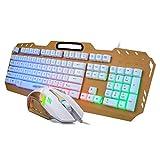 ZDSJJ De Aluminio retroiluminado Teclado for Juegos robótica Feel USB del Metal Luminoso Teclado de Ordenador Gaming Keyboard Mouse Set