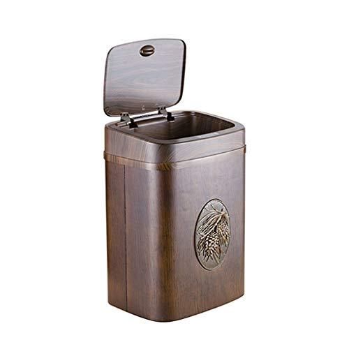Bote de basura Madera cubo de la basura cuadrado, detección automática de basura con tapa, de la basura de la cocina puede Baño for dormitorio Ministerio del Interior (8L, Plaza) contenedor de basura