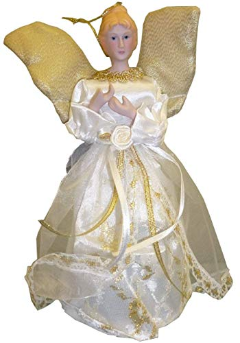 9 Inch Tree Top Christmas Angel Dressed In Gold And Cream