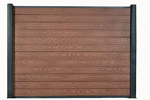 DeToWood WPC-Zaun l Sichtschutz-Zaun Steckzaun Gartenzaun Komplettset Aluminiumpfosten I zum Einbetonieren I Braun (Muster vom Dekor ca.15x10cm)
