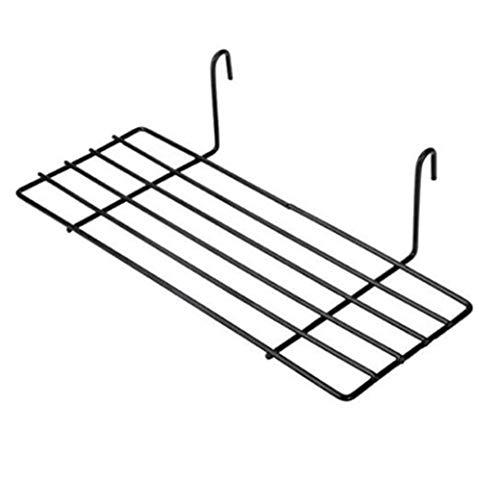 Estante de almacenamiento de rejilla de pared de metal Organizador de alambre de montaje en pared Diseño de pantalla de rejilla Decoración Adecuado para tablones de rejilla Negro (24.8x9.8.x6.9cm)