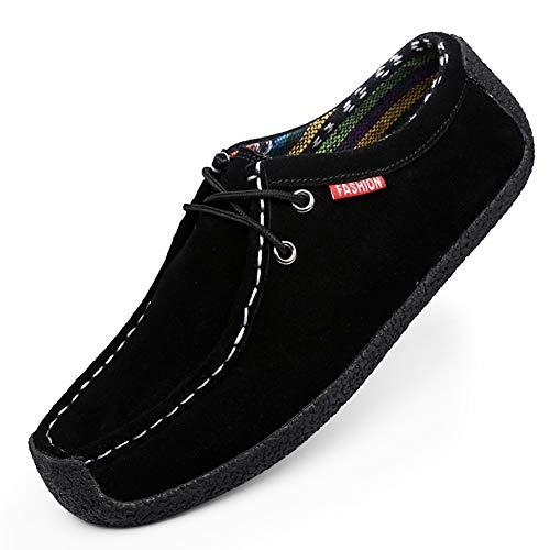 CAGAYA Herren Wildleder Mokassins Klassische Slip on Flach Bootsschuhe Fahrschuhe Halbschuhe Slippers Loafers Schuhe 39-51 EU (51 EU, Schwarz)