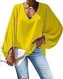 Agroupdream Blusa de gasa para mujer con cuello en V casual camisas de color sólido manga larga linterna túnica S-2XL