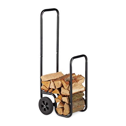 Relaxdays Kaminholzwagen, Brennholzkarre aus Stahl, mit 2 Rädern, Feuerholztransport & -aufbewahrung, bis 60 kg, schwarz