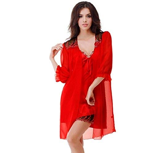 Ms Solid lichtgewicht ademende geplooide los en huishoudelijke rode badjas vintage pyjama-nachtkastje Chemise