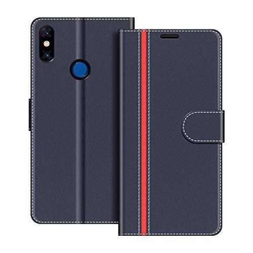 COODIO Handyhülle für Xiaomi Mi Mix 3 Handy Hülle, Xiaomi Mi Mix 3 Hülle Leder Handytasche für Xiaomi Mi Mix 3 Klapphülle Tasche, Dunkel Blau/Rot