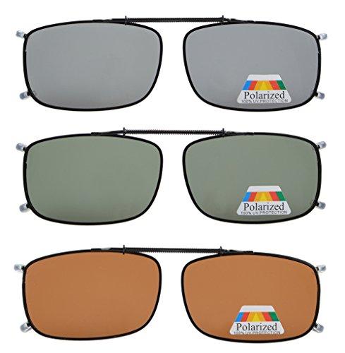 Eyekepper Gris/Marrón / G15 Lente 3-paquete de Clip-on gafas de sol polarizadas 52x33 MM