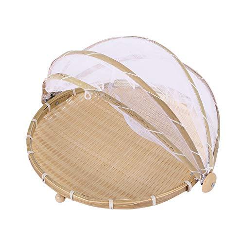 LilyJudy 1 cesta tejida a mano a prueba de insectos a prueba de polvo, cesta de picnic hecha a mano de frutas y verduras pan cesta de mimbre con gasa