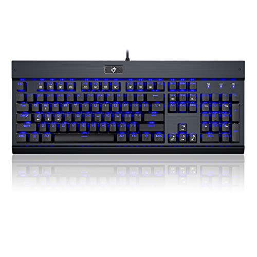 Eagletec KG010 Mechanical Keyboard Clicky Blue Switch Equivalent Wired Ergonomic Office Keyboard, Steel Aluminum Series Blue LED RGB Backlit with 104 Keycaps for Windows PC Home or Business (Black)